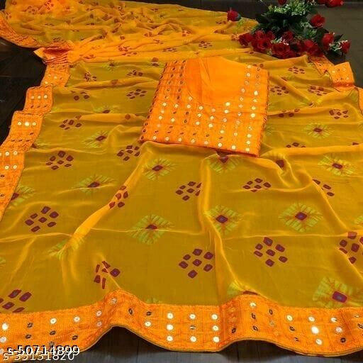 Georgette Printed Bandhani Saree with Blouse piece