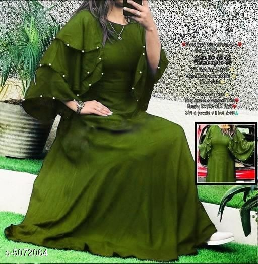 Women's Solid Olive Rayon Dress