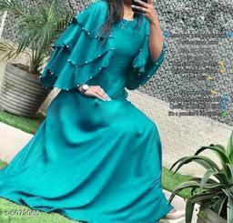 Women's Solid Blue Rayon Dress