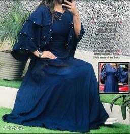 Women's Solid Navy Blue Rayon Dress