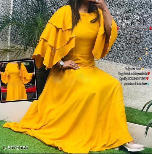 Women's Solid Yellow Rayon Dress