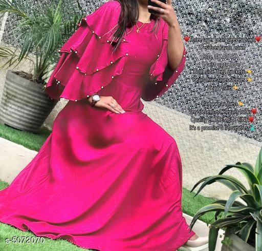 Women's Solid Pink Rayon Dress