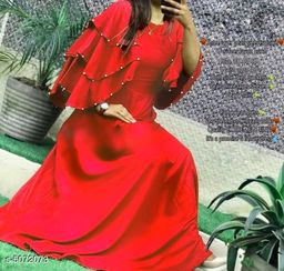 Women's Solid Red Rayon Dress