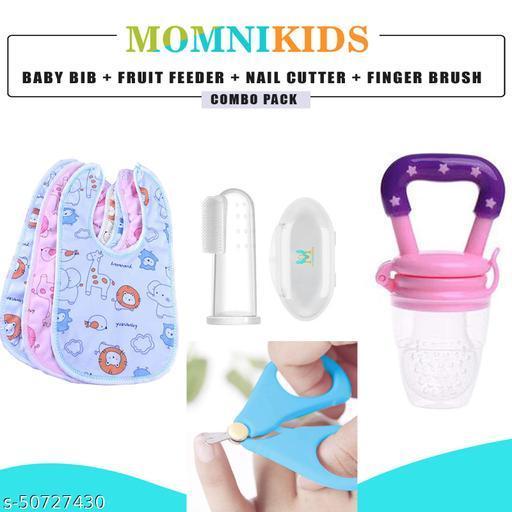 MOMNIKIDS™ Combo of 3 Pcs Waterproof Bib Apron, 1 PC Fruit Feeder, 1 Nail Cutter and 1 PC Silicone Finger Brush