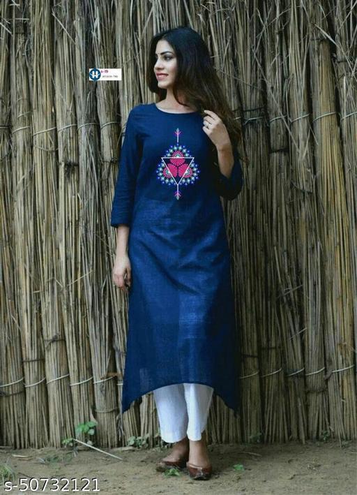 Embroidered Rayon Blue kurti