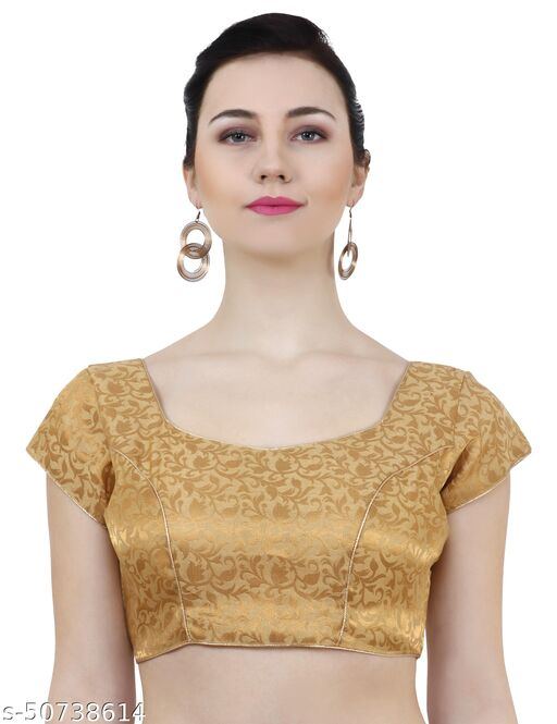ND & R Womens Readymade Fully Stitch Designer Saree Blouse color Golden