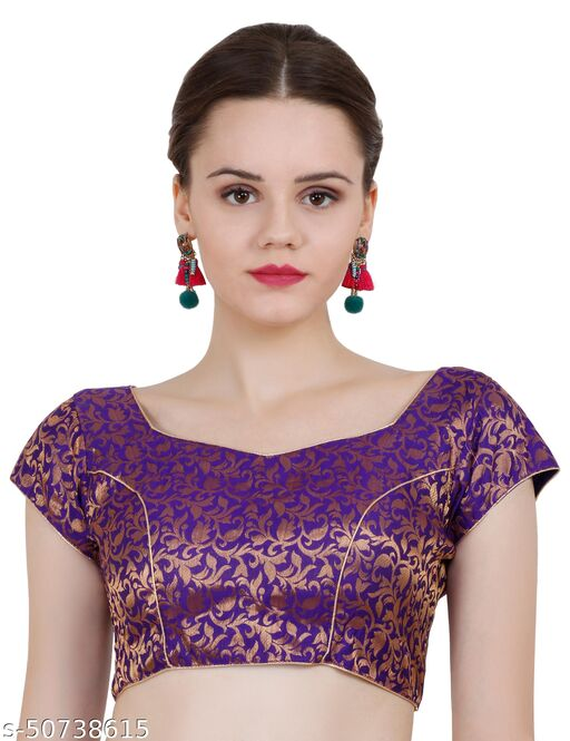 ND & R Womens Readymade Fully Stitch Designer Saree Blouse color Purple