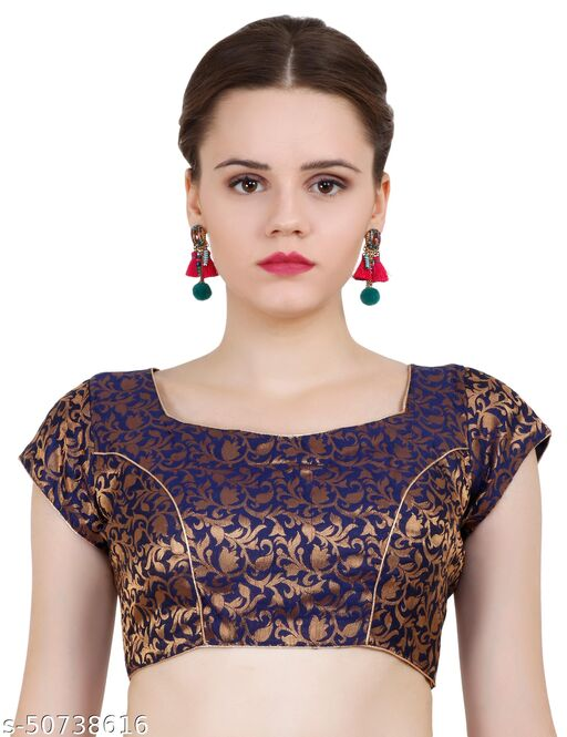 ND & R Womens Readymade Fully Stitch Designer Saree Blouse color Navy blue