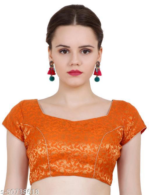 ND & R Womens Readymade Fully Stitch Designer Saree Blouse color Orange