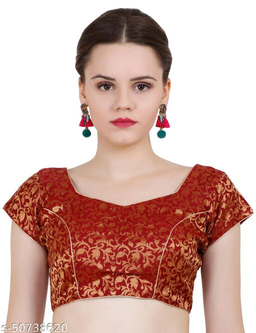 ND & R Womens Readymade Fully Stitch Designer Saree Blouse color Maroon