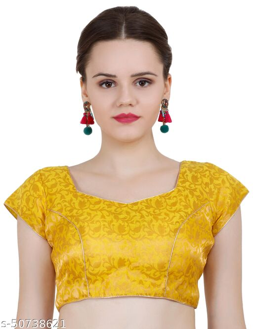 ND & R Womens Readymade Fully Stitch Designer Saree Blouse color Yellow