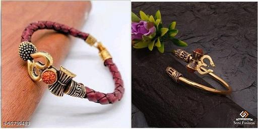 Gold Plated Rudraksha Kada & Gold leghter bracelet for Unisex