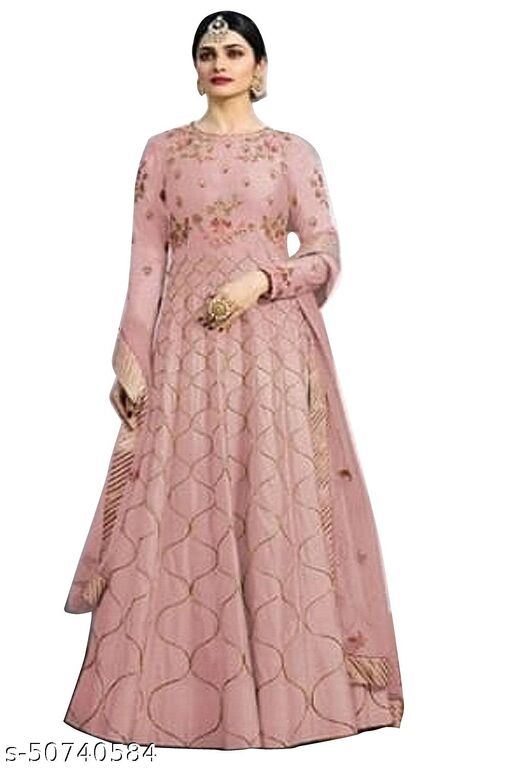 PG Feb Embroidered Net Semi Stitched Anarkali Gown