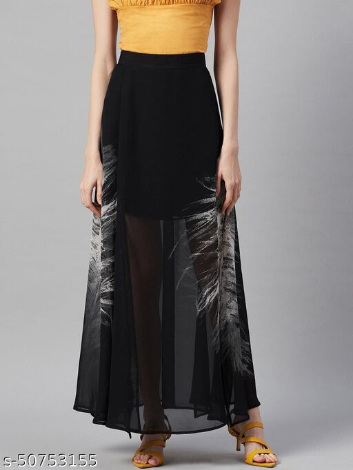 I AM FOR YOU Women Black & White Abstract Printed Semi-Sheer Flared Maxi Skirt