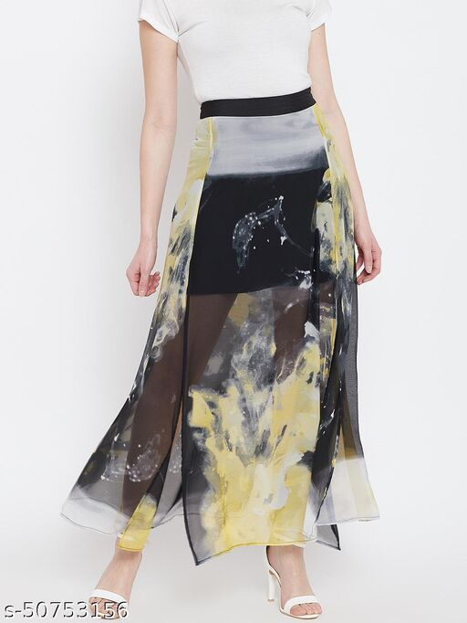 I AM FOR YOU Women Black & Yellow Printed Maxi Skirt