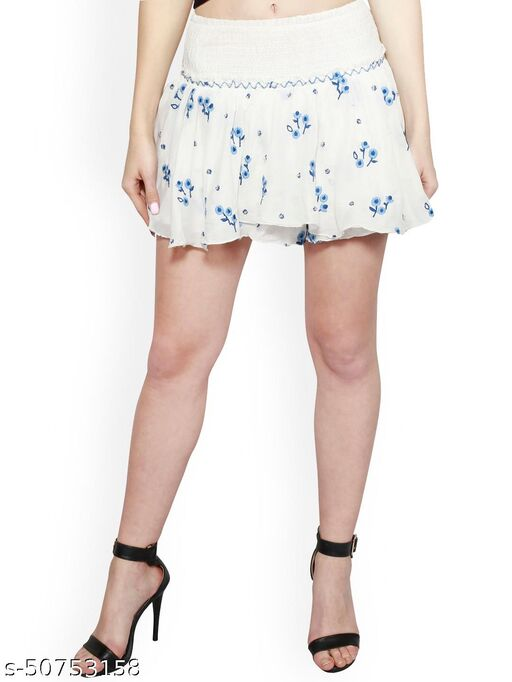 I AM FOR YOU Women White Embroidered Flared Mini Skirt