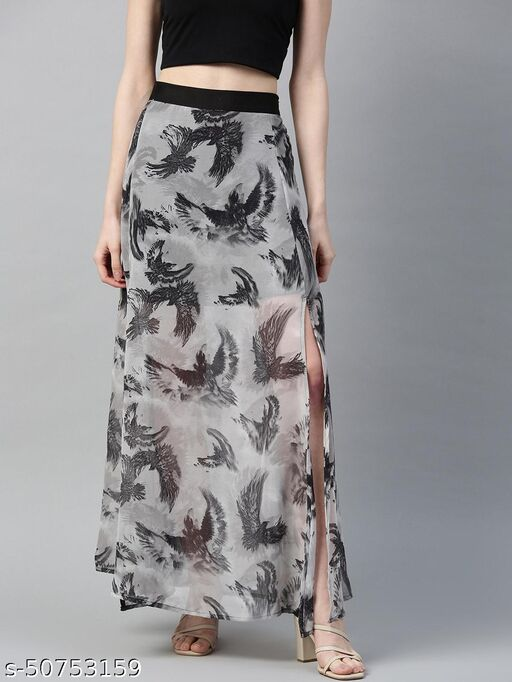 I AM FOR YOU Women Grey & Black Bird Print Sheer Maxi A-Line Skirt with Side Slit
