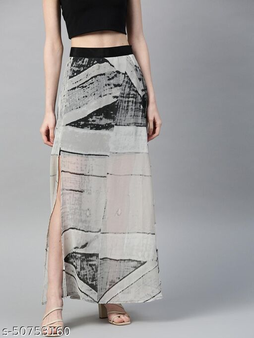 I AM FOR YOU Women Grey & Black Abstract Print Sheer Maxi A-Line Skirt with Side Slit