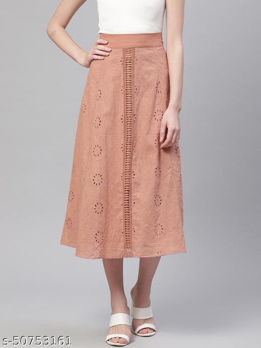 I AM FOR YOU Women Rust Orange Schiffli Embroidered Midi A-Line Pure Cotton Skirt