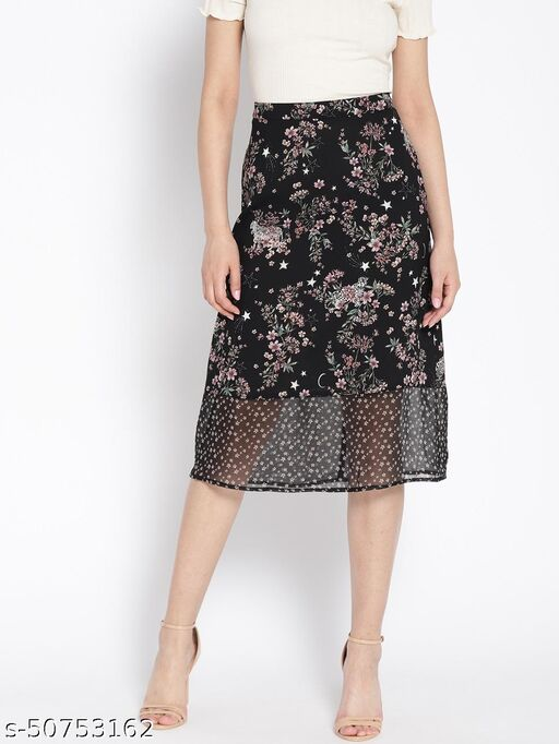 I AM FOR YOU Women Black Floral Printed A-line Midi Skirt