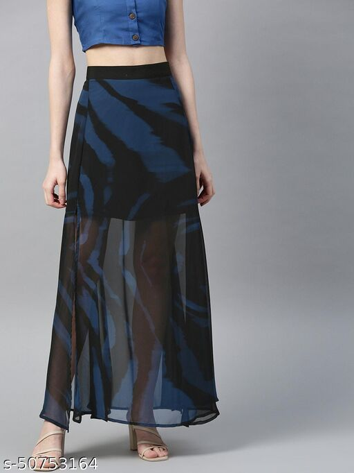 I AM FOR YOU Women Black & Navy Blue Semi-Sheer Printed Maxi A-line Dress