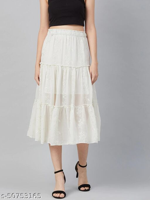 I AM FOR YOU Women Off White Floral Embroidered Tiered Midi Skirt