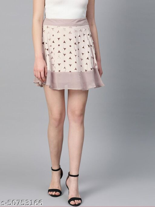 I AM FOR YOU Women Beige Solid Flared Skirt