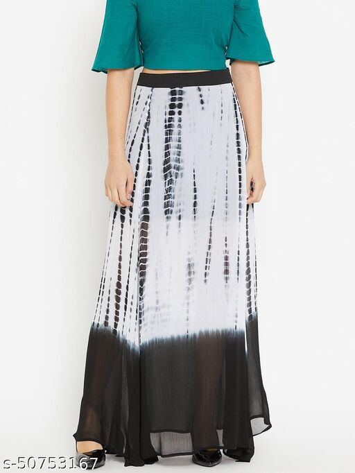 I AM FOR YOU Black and White Tie & Dye A-Line Maxi Skirt