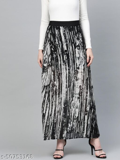 I AM FOR YOU Women Off-White & Black Printed Maxi Flared Skirt