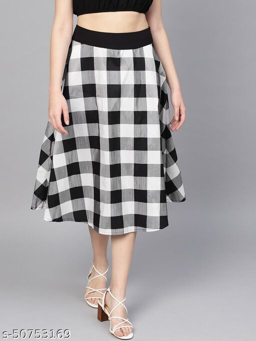 I AM FOR YOU Women Black And White Checked Printed Flared Skirt