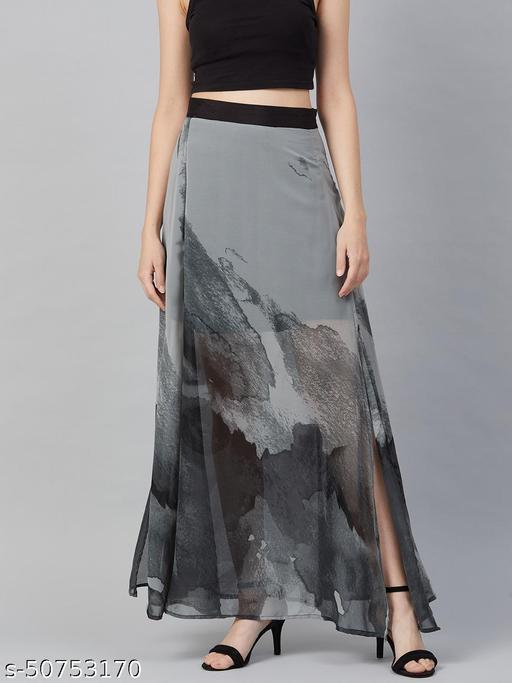 I AM FOR YOU Women Grey & Black Printed A-Line Maxi Skirt