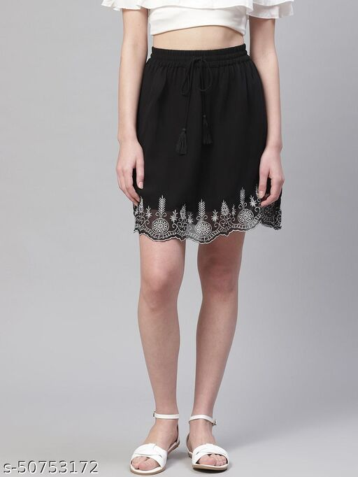 I AM FOR YOU Women Black & Silver Embroidered Detail A-Line Skirt with Gathers
