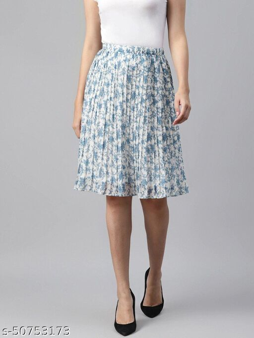 I AM FOR YOU Women White & Blue Floral Print Accordion Pleated A-Line Skirt