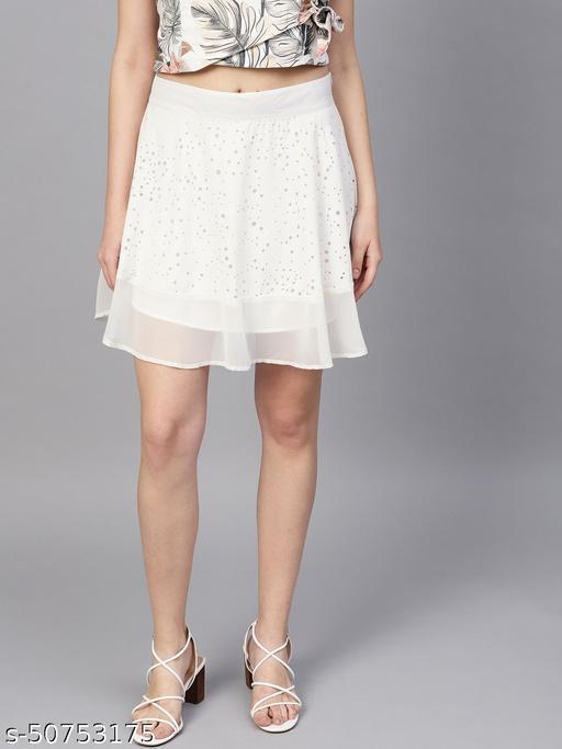 I AM FOR YOU Women White Self-Design Flared Mini Skirt