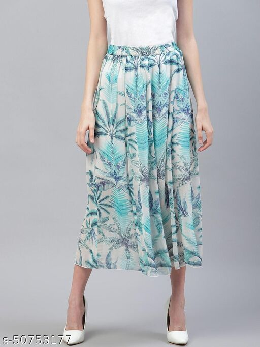 I AM FOR YOU Women Off-White Printed Flared Midi Skirt