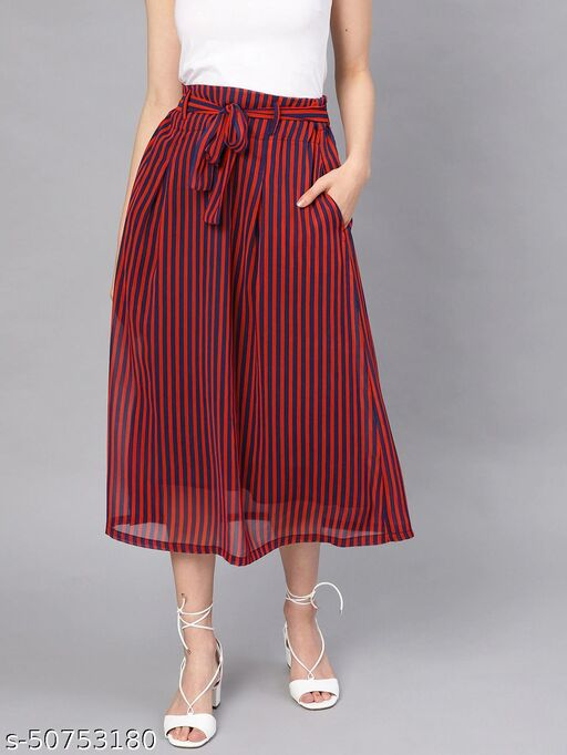 I AM FOR YOU Women Red & Navy Blue Striped Midi Skirt