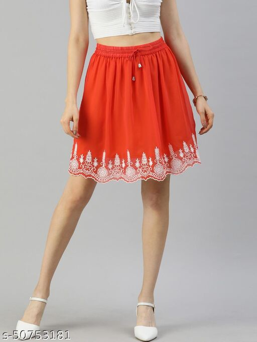 I AM FOR YOU Women Orange & White Embroidered Detail A-Line Skirt with Gathers