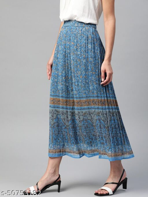 I AM FOR YOU Women Blue & White Floral Printed Pleated A-Line Midi Skirt