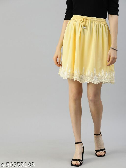 I AM FOR YOU Women Yellow & White Embroidered Detail A-Line Skirt with Gathers