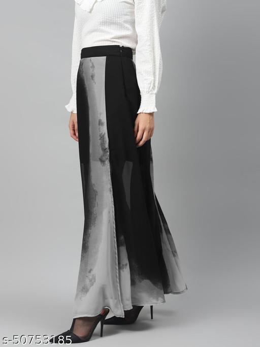 I AM FOR YOU Women Black & Grey Printed Multi-Slit A-Line Maxi Skirt