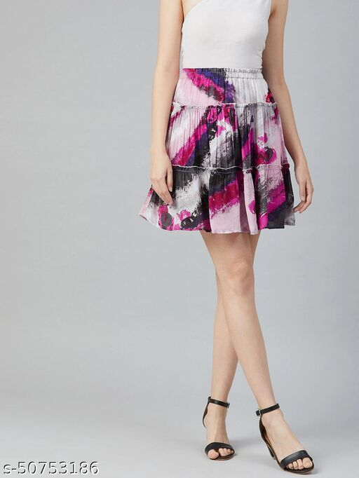 I AM FOR YOU Women Pink & Grey Printed Tiered Mini Skirt