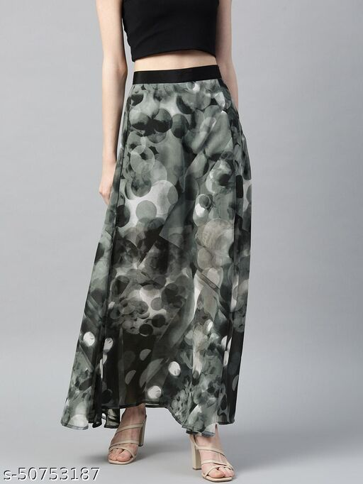 I AM FOR YOU Women Charcoal Grey Abstract Print Sheer Maxi A-Line Skirt with Side Slit