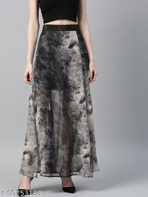 I AM FOR YOU Women Off-White & Charcoal Grey Semi-Sheer Printed Maxi A-line Dress