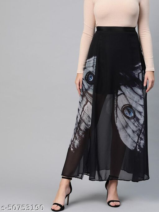 I AM FOR YOU Women Black & Charcoal Grey Printed Flared Maxi Skirt