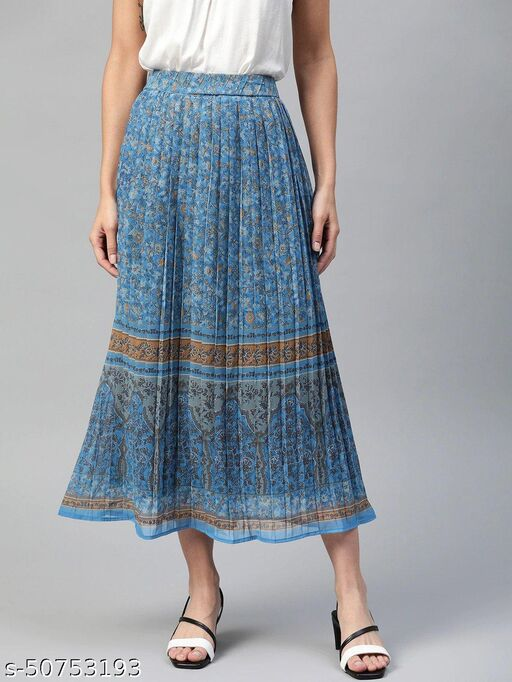 I AM FOR YOU Teal Blue & Grey Accordion Pleated Ethnic Print Midi A-Line Skirt