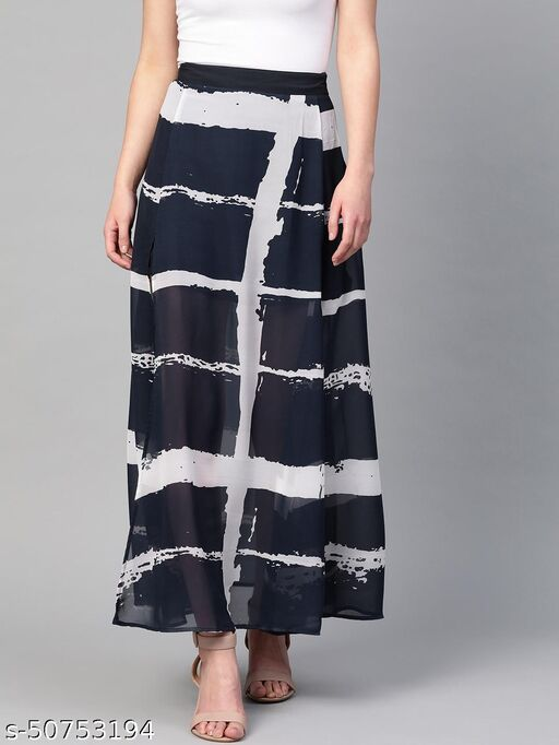 I AM FOR YOU Women Navy Blue & Off White Checked Flared Maxi Skirt