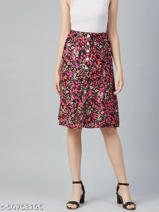 I AM FOR YOU Women Black & Pink Floral Printed A-Line Skirt