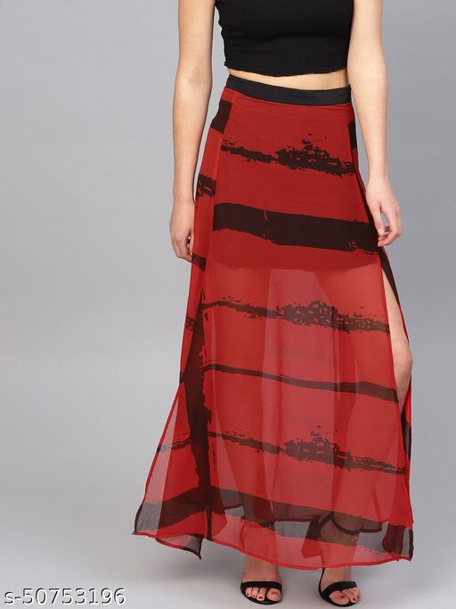 I AM FOR YOU Women Red & Black Printed Semi Sheer High Slit Maxi Skirt
