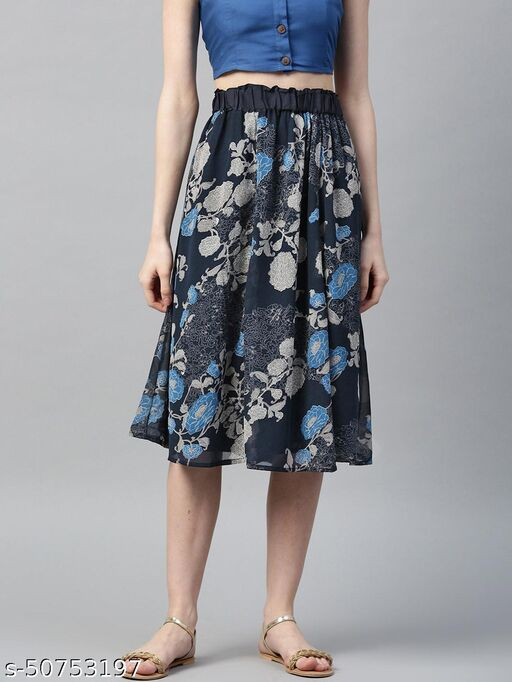 I AM FOR YOU Women Navy & Grey Floral Print Flared Skirt