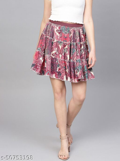 I AM FOR YOU Women Magenta & Cream-Coloured Printed Tiered A-Line Skirt